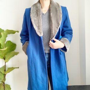 Vintage Impromptu Blue Grey Wool Blend Coat Size M